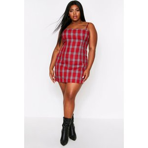 Boohoo Womens Square Neck Checked Pinafore Dress - Red - 18, Red Fzz6649015751 Womens Dresses & Skirts, Red