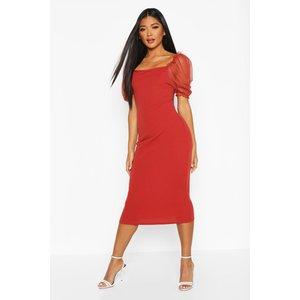 Boohoo Womens Square Neck Mesh Sleeve Midi Dress - Orange - 14, Orange Fzz8268520822 Womens Dresses & Skirts, Orange
