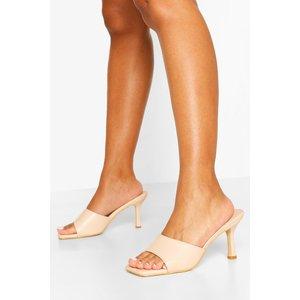 Boohoo Womens Square Toe Bow Stiletto Heel Mules - Beige - 4, Beige Fzz6258029512 Womens Footwear, Beige