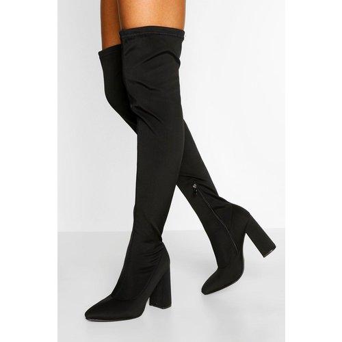 Boohoo Womens Stretch Thigh High Block Heel Boot - Black - 6, Black Fzz4731010514 Womens Footwear