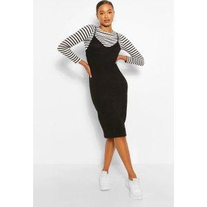 Boohoo Womens Stripe Long Sleeve T-shirt & Midi Slip Dress - Black - 10, Black Fzz5106010518 Womens Dresses & Skirts, Black