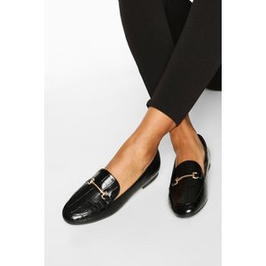 Boohoo Womens T Bar Croc Basic Loafers - Black - 7, Black Fzz7188710515 Womens Footwear, Black