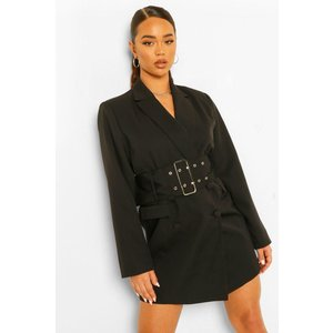 Boohoo Womens Tailored Oversized Wide Belt Blazer Dress - Black - 12, Black Fzz4666610520 Womens Dresses & Skirts, Black