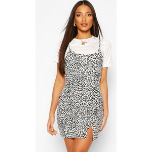 Boohoo Womens Tall 2-in-1 Leopard Print Slip Dress - Multi - 16, Multi Tzz9314919324 Womens Dresses & Skirts, Multi