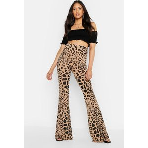 Boohoo Womens Tall Leopard Print Flares - Multi - 16, Multi Tzz9447019324 Womens Trousers, Multi