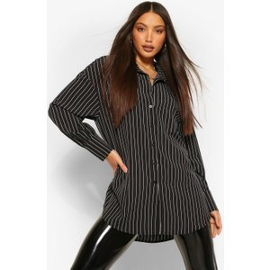 Boohoo Womens Tall Pinstripe Oversized Shirt - Black - 10, Black Tzz9166710518 Womens Dresses & Skirts, Black