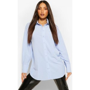 Boohoo Womens Tall Pinstripe Oversized Shirt - Blue - 8, Blue Tzz9166710616 Womens Dresses & Skirts, Blue