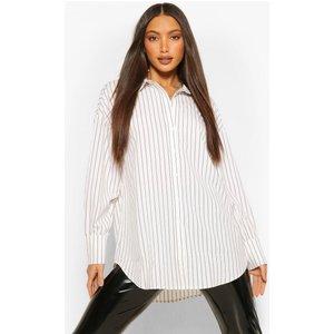 Boohoo Womens Tall Pinstripe Oversized Shirt - White - 8, White Tzz9166713316 Womens Dresses & Skirts, White