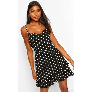 Boohoo Womens Tall Polka Dot Ruffle Slip Dress - Black - 8, Black Tzz9289610516 Womens Dresses & Skirts, Black