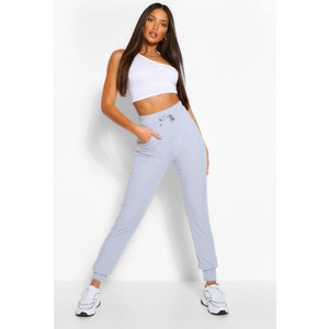 Boohoo Womens Tall Rib High Waist Joggers - Grey - 16, Grey Tzz9249813124 Womens Trousers, Grey