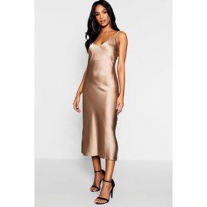 Boohoo Womens Tall Satin Slip Dress - Beige - 12, Beige Tzz9620516720 Womens Dresses & Skirts, Beige