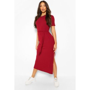 Boohoo Womens Tall Soft Rib Belted Midi Dress - Red - 12, Red Tzz9169110420 Womens Dresses & Skirts, Red