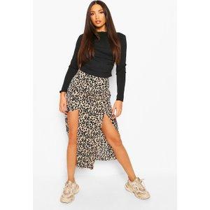 Boohoo Womens Tall Woven Leopard Print Split Front Midi Skirt - Multi - 12, Multi Tzz0001219320 Womens Dresses & Skirts, Multi