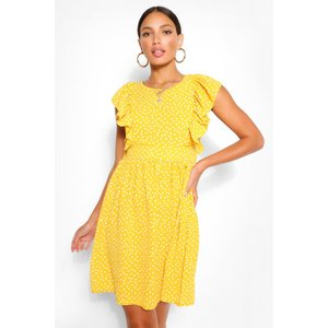 Boohoo Womens Tall Woven Polka Dot Print Smock Dress - Yellow - 10, Yellow Tzz9272217418 Womens Dresses & Skirts, Yellow