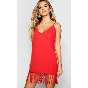 Boohoo Womens Tassel Trim Bohemian Cami Slip Dress - Red - 12, Red Dzz2511415720 Womens Dresses & Skirts, Red