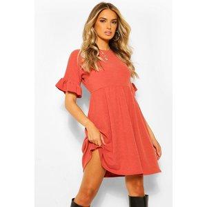 Boohoo Womens Textured Rib Frill Detail Smock Dress - Orange - 18, Orange Fzz4557820851 Womens Dresses & Skirts, Orange