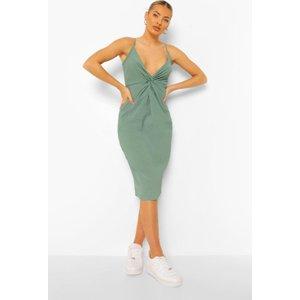 Boohoo Womens Textured Twist Midi Slip Dress - Green - 12, Green Fzz4510613020 Womens Dresses & Skirts, Green