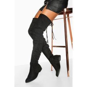 Boohoo Womens Thigh High Flat Boots - Black - 6, Black Fzz7269610514 Womens Footwear, Black