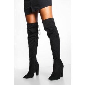 Boohoo Womens Tie Back Block Heel Over The Knee Boots - Black - 6, Black Fzz7684810514 Womens Footwear, Black
