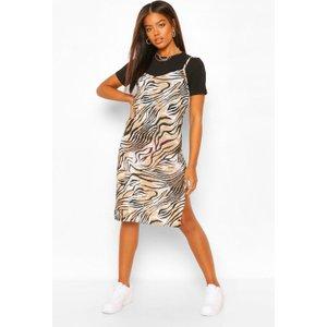 Boohoo Womens Tiger Print Jersey Midi Slip Dress - Brown - 8, Brown Fzz5587410916 Womens Dresses & Skirts, Brown