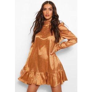 Boohoo Womens Tonal Animal Satin Puff Sleeve Smock Dress - Brown - 10, Brown Fzz5051816618 Womens Dresses & Skirts, Brown