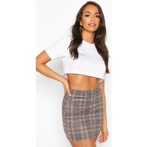 Boohoo Womens Tonal Check Basic Mini Skirt - Beige - 8, Beige Fzz7444911116 Womens Dresses & Skirts, Beige