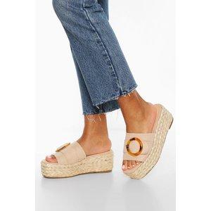 Boohoo Womens Tort Buckle Espadrille Wedges - Beige - 8, Beige Fzz7106529516 Womens Footwear, Beige