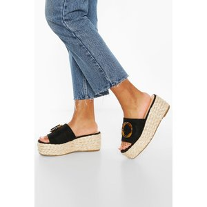 Boohoo Womens Tort Buckle Espadrille Wedges - Black - 3, Black Fzz7106510511 Womens Footwear, Black