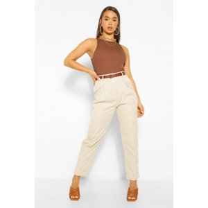Boohoo Womens Turn Up Belted Pleat Front Trousers - Beige - 10, Beige Fzz5351216118 Womens Trousers, Beige