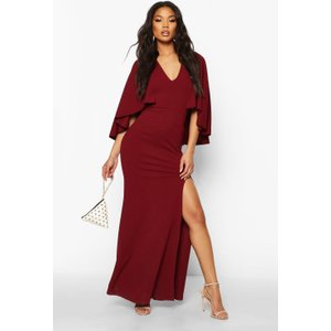 Boohoo Womens V Neck Caped Maxi Dress - Red - 10, Red Fzz8095510418 Womens Dresses & Skirts, Red
