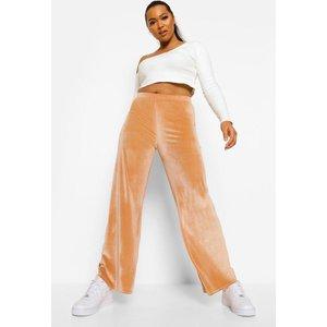 Boohoo Womens Velour Wide Leg Joggers - Beige - 10, Beige Pzz6665516518 Womens Sportswear, Beige