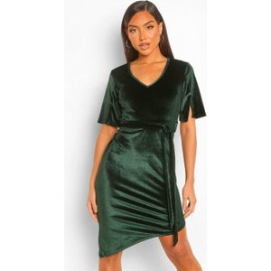 Boohoo Womens Velvet Split Sleeve Mini Dress - Green - 16, Green Fzz4290512524 Womens Dresses & Skirts, Green