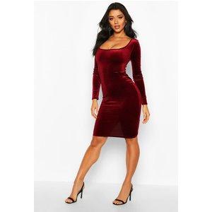 Boohoo Womens Velvet Square Neck Long Sleeve Midi Dress - Red - 8, Red Dzz0622110416 Womens Dresses & Skirts, Red