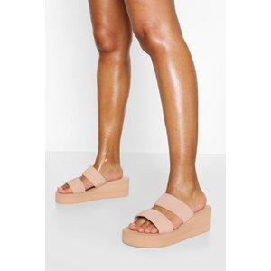 Boohoo Womens Wedge Double Strap Mule - Beige - 3, Beige Fzz5840329511 Womens Footwear, Beige