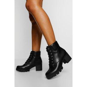 Boohoo Womens Wide Fit Block Heel Hiker Boots - Black - 4, Black Fzz5150010512 Womens Footwear, Black