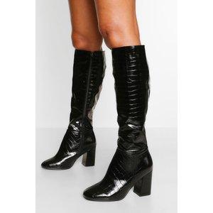 Boohoo Womens Wide Fit Block Heel Knee Boot - Black - 8, Black Fzz5705910516 Womens Footwear, Black