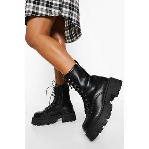 Boohoo Womens Wide Fit Chunky Sole Hiker Boots - Black - 5, Black Fzz5127510513 Womens Footwear, Black