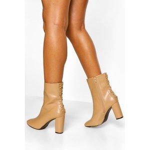 Boohoo Womens Wide Fit Lace Back Shoe Boot - Beige - 3, Beige Fzz5540616711 Womens Footwear, Beige