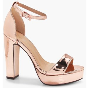 Boohoo Womens Wide Fit Platform 2 Part Heels - Metallics - 3, Metallics Dzz4477136411 Womens Footwear, Metallics