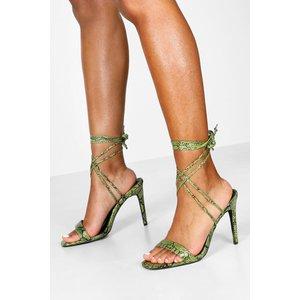 Boohoo Womens Wide Fit Snake Wrap 2 Parts - Green - 8, Green Fzz8154013016 Womens Footwear, Green