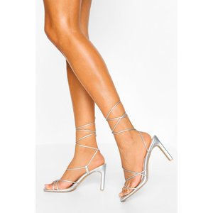 Boohoo Womens Wide Fit Strappy Square Toe Flat Heels - Grey - 6, Grey Fzz4324516314 Womens Footwear, Grey