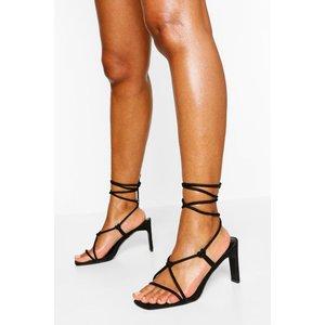 Boohoo Womens Wide Fit Strappy Square Toe Sandal - Black - 3, Black Fzz5543410511 Womens Footwear, Black