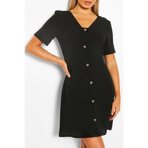 Boohoo Womens Woven Button Through Shift Dress - Black - 10, Black Fzz5548710518 Womens Dresses & Skirts, Black