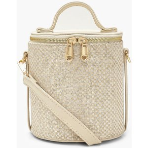 boohoo Womens Woven Cylinder Handle Cross Body Bag - White - One Size, White FZZ9893612335 Womens Accessories, White