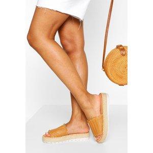 Boohoo Womens Woven Flatform Slider - Beige - 6, Beige Fzz5813911114 Womens Footwear, Beige