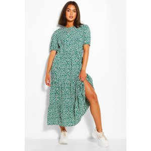 Boohoo Womens Woven Floral Print Midaxi Dress - Green - 16, Green Fzz6504113024 Womens Dresses & Skirts, Green