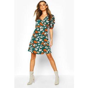 Boohoo Womens Woven Floral Print Puff Sleeve Swing Dress - Green - Xs, Green Fzz8176213037 Womens Dresses & Skirts, Green