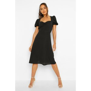 Boohoo Womens Woven Puff Sleeve Midi Dress - Black - 14, Black Fzz4428510522 Womens Dresses & Skirts, Black