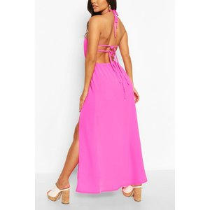 Boohoo Womens Woven Strappy Back Halterneck Split Maxi Dress - Pink - 18, Pink Fzz6323253551 Womens Dresses & Skirts, Pink