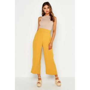 Boohoo Womens Woven Wide Leg Culottes - Yellow - 8, Yellow Fzz8911814616 Womens Trousers, Yellow